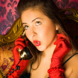 Stock Photo: Young woman talking on phone