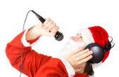 Santa Claus singing a song — Stock Photo