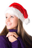 Young smiling woman in santa hat portrai — Stock Photo