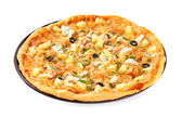 Pizza with pineapples and shrimps — Stock Photo