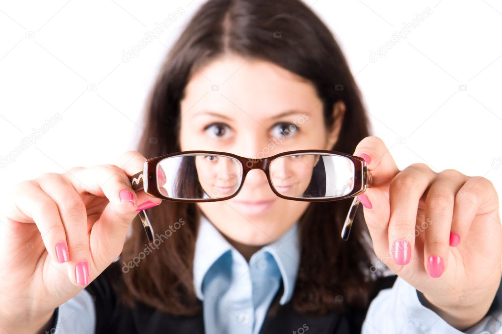 Young woman looking through eyeglasses. Isolated on white. — Stock Photo #1194863