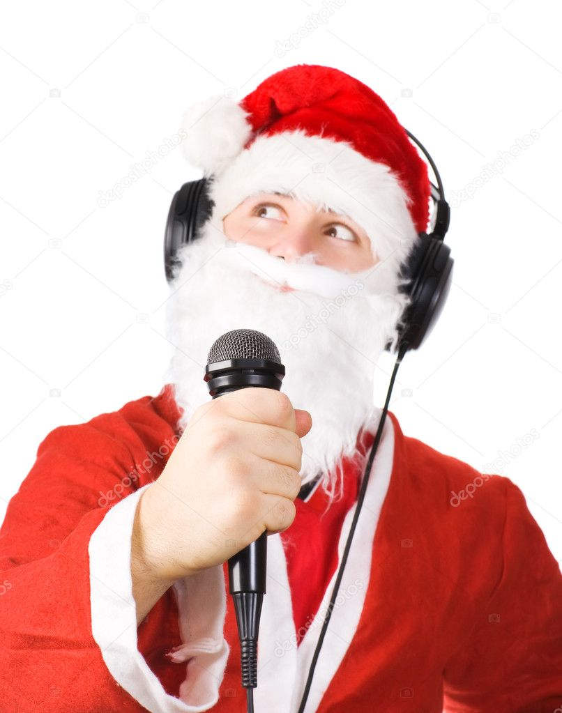 Santa Claus singing a song. Isolated on white. — Stock Photo #1194923