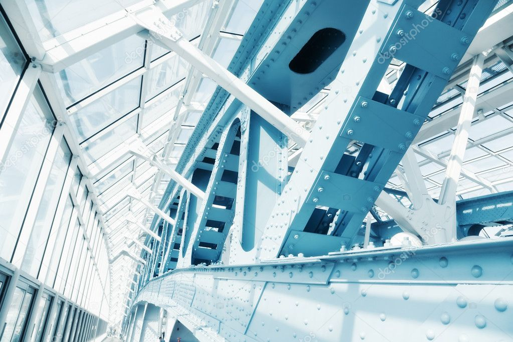Abstract modern construction. Blue tint.  Stock Photo #1194934