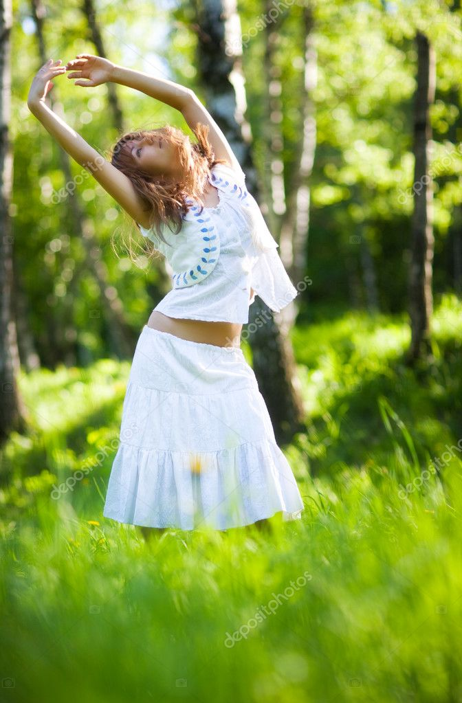 Young woman nature relax. Delighting good weather. — Stock Photo #1195201