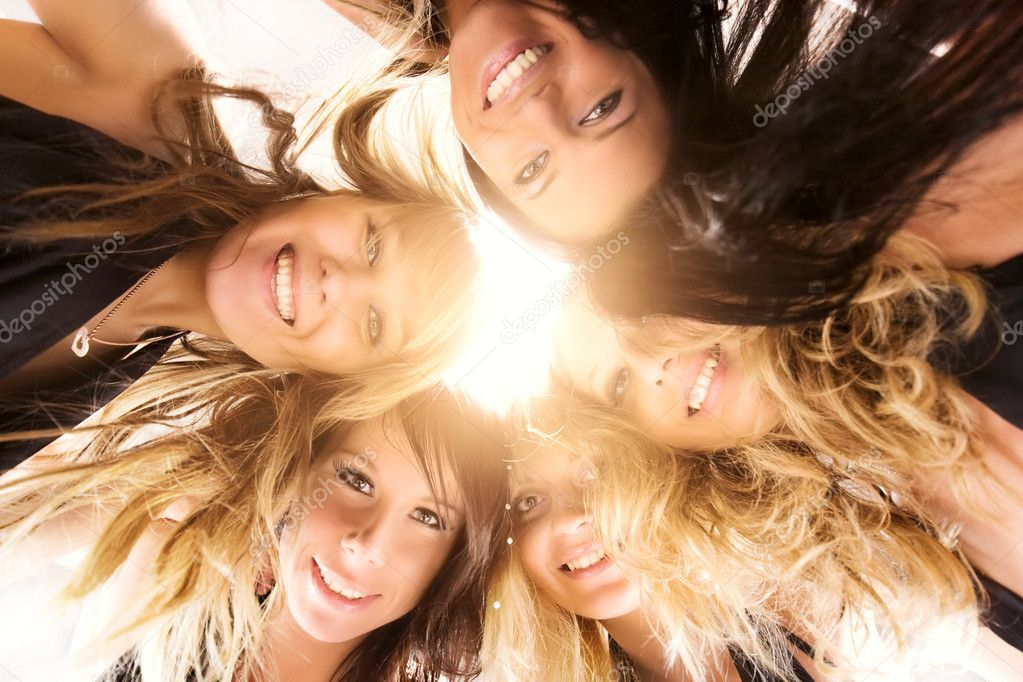 Five women team. Bright sunlight from above. — Stock Photo #1195343