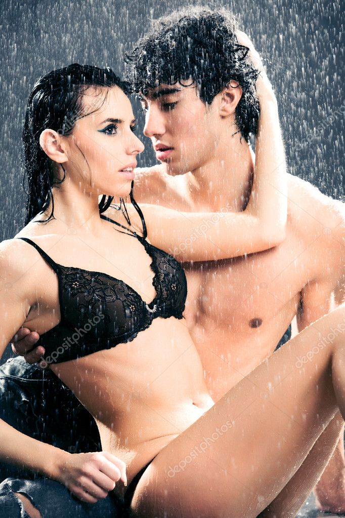 Young sexy couple. Water studio photo.  Stock Photo #1195367