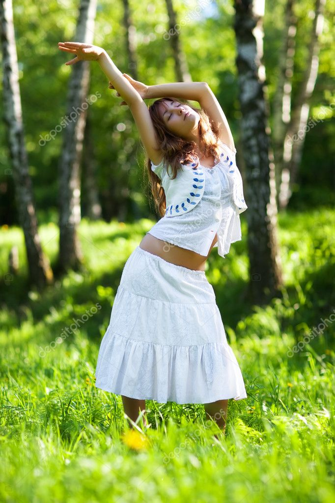 Young woman nature relax. Delighting good weather. — Stock Photo #1195403