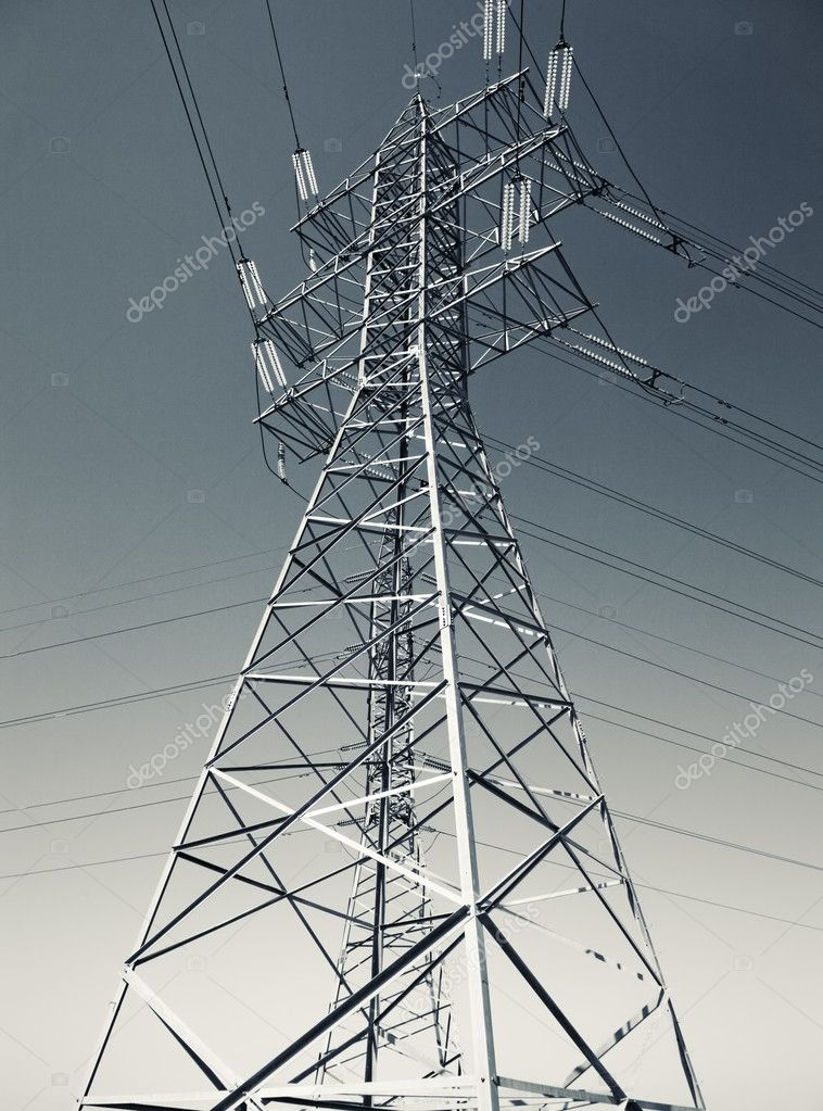 Electric power line. Blue and yellow tint. — Stock Photo #1195420
