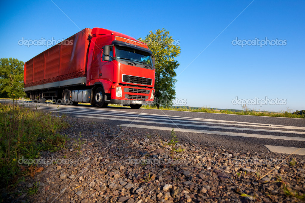 Truck cargo transportation. Wide angle view. — Stock Photo #1195535