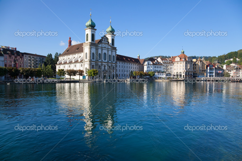 Lucerne city in Switzerland landscape. Wide angle view. — Stock Photo #1195580