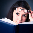 Business woman reading the book — Stock Photo