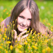 Young woman on a summer field — Stock Photo #1328735