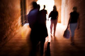 Walking blurred motion — Stock Photo