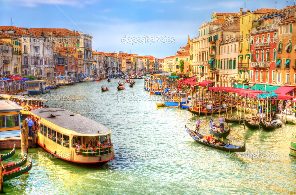 Venice Grand Canal view. Draw stylized photo (HDR). — Stock Photo #1328704
