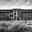 Old ruinous factory panorama - Stock Photo