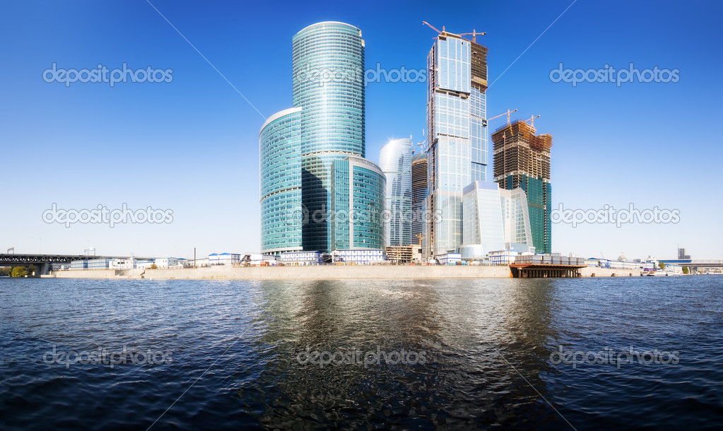 Moscow city business center. Panorama. — Stock Photo #1332120