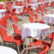 Restaurant tables outdoors — Stock Photo