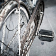 Old rusty bicycle closeup - Stock Photo