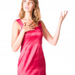 Young woman in pink dress — Stock Photo #1348414
