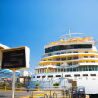 Big cruise ship in a quay — Foto Stock