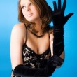 Young woman with elegant gloves — Stock Photo #1348500