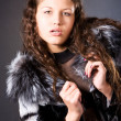 Young woman with fur coat — Stock Photo