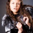 Young woman with fur coat — Stock Photo #1348612