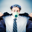 Stock Photo: Crazy businessmin protective mask