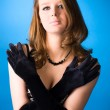 Young woman with elegant gloves — Stock Photo