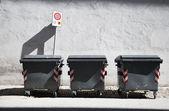 Three refuse bins — Stock Photo