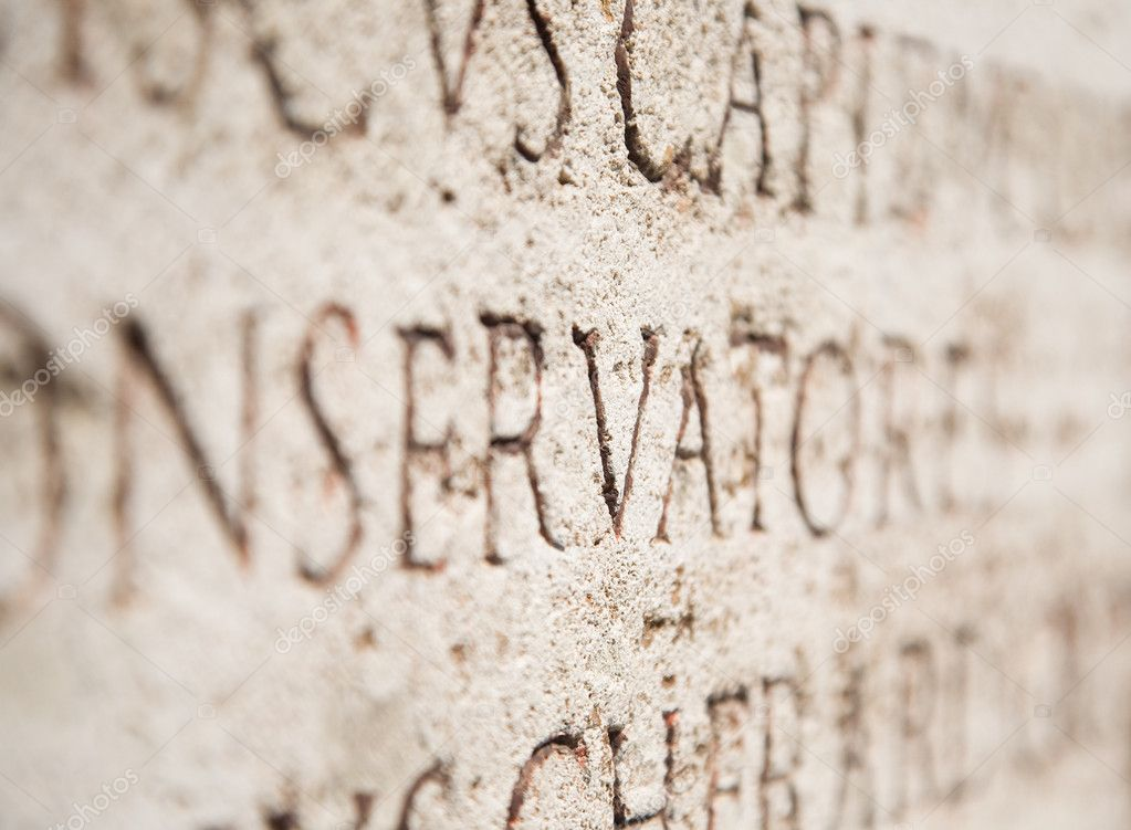 Ancient text on a stone. Perspective view. — Stock Photo #1348401