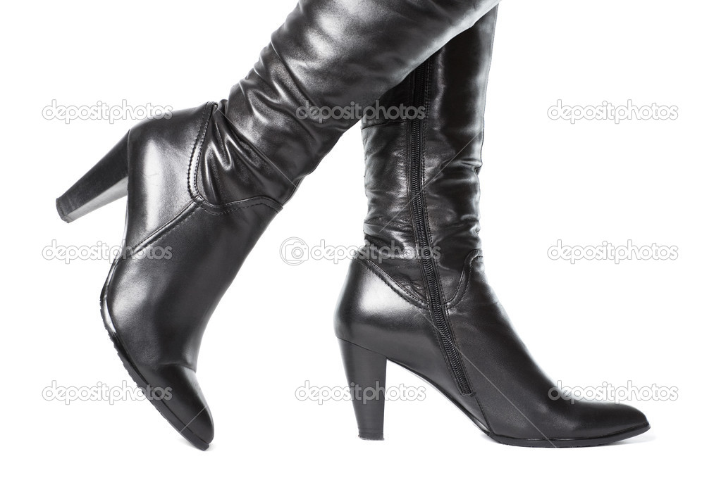 Woman leather boots. Isolated on white.  Stock Photo #1348667
