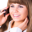 Young businesswoman talking on phone — Stock Photo