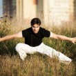 Young athletic man martial art training — Stock Photo #1369105