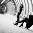 Two goth women in industrial tunnel — Stock Photo