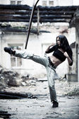 Woman fighter — Stock Photo