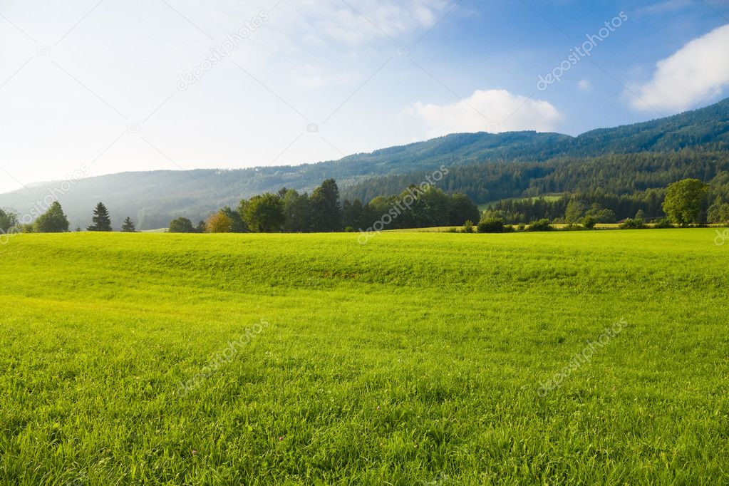 Alps morning landscape. Wide angle view. — Stock Photo #1362459