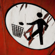Throwing out garbage symbol - Stock Photo