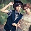 Stock Photo: Young couple in a park