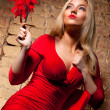 Young woman in red dress — Stock Photo #1372810