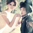 Young romantic couple portrait — Stockfoto