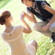 Young romantic couple outdoors - Stock Photo