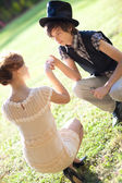 Young romantic couple outdoors — Stock Photo