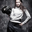 Young strong woman sport exercises — Stock Photo #1575557