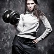 Royalty-Free Stock Photo: Young strong woman sport exercises