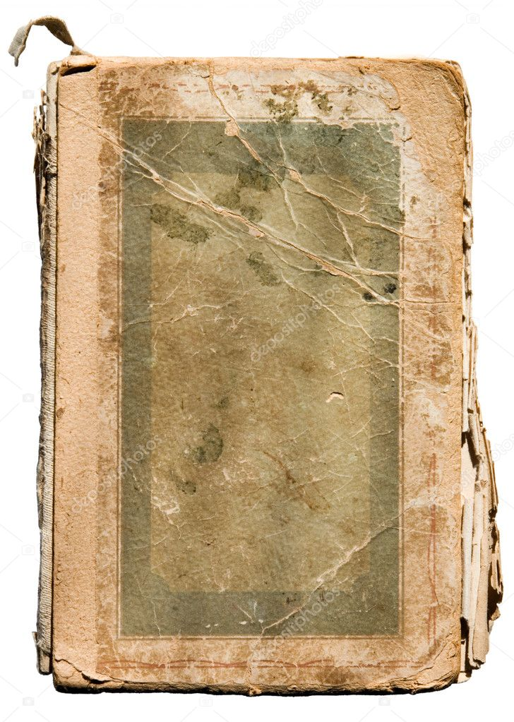 Very old tattered book on white.  Zdjcie stockowe #1634982