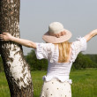 Girl holding birch — Stock Photo #1652263