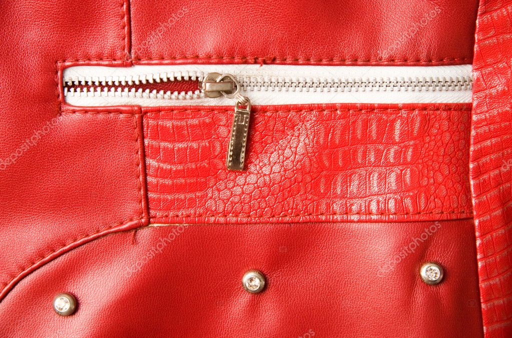 Red leather and pocket with zipper.  Stock Photo #1652226