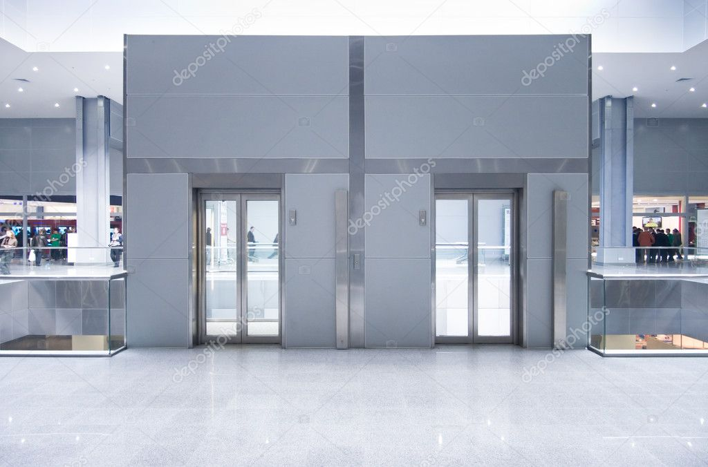 Lift doors on a top storey in a business center. — Stock Photo #1652261