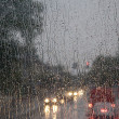 Rain on bus front window — Stock Photo